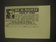 1939 Chicago School of Nursing Ad - Be a Nurse Learn at Home