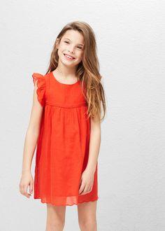 Vestido algodão folho -  Criança | MANGO Kids Portugal