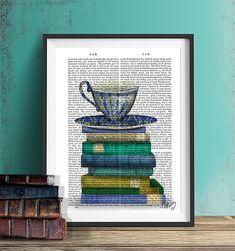 This beautiful print can spruce up any kitchen wall or bookshelf.