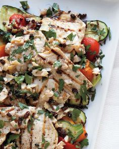 Grilled Chicken and Vegetables with Parsley Vinaigrette Recipe