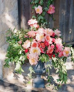 Peonies in a stone urn