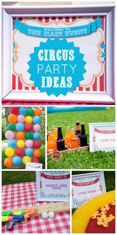 A Circus boy birthday party with carnival games like balloon darts and ring toss!  See more party planning at a CatchMyParty.com!