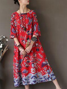 eba1f73584ea Printed Vintage Casual Midi Dress Φλοράλ Φορέματα