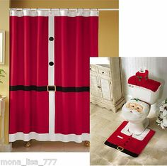 Christmas Themed 15 Pc Bath Set: Bath Mat, Contour Mat, Shower Curtain, U0026  Hooks | Bath Mat, Bath And Christmas Shower Curtains