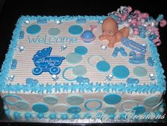 40 Creative Baby Shower Cakes and Ideas - FreshBoo Torta Baby Shower, Baby Shower Sheet Cakes, Baby Shower Cake Pops, Baby Shower Cakes For Boys, Baby Boy Cakes, Baby Shower Balloons, Baby Boy Shower, Baby Shower Party Games, Baby Shower Themes