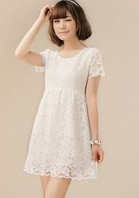 White Short Sleevess Cute Girlish Style Lace Mini Asian Fashion Dress