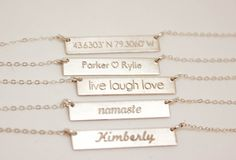 Silver Bar Necklace Name Necklace Nameplate Bar by PROJECTDAHLIA