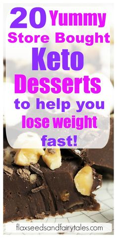 Delicious store bought keto desserts that will satisfy your sweet tooth and help you lose weight! The top 20 BEST keto desserts to buy! Keto Desserts To Buy, Low Carb Desserts, Keto Snacks, Low Carb Recipes, Delicious Desserts, Healthy Desserts, Healthy Food, Healthy Protein Bars, High Protein