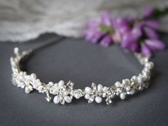 ELVINA, Bridal Headband, Freshwater Pearl and Rhinestone Bridal Headband, Crystal Wedding Headband, Wedding Bridal Hair Accessories by GlamorousBijoux on Etsy https://www.etsy.com/listing/78048542/elvina-bridal-headband-freshwater-pearl