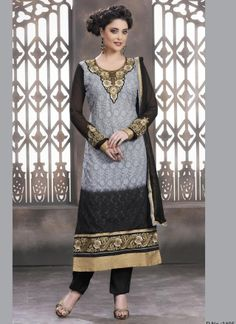 Grey And Black Faux Georgette Embroidery Work Churidar Suit