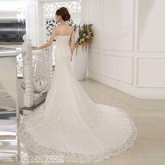 Graceful Beading Floor-Length Cheap Train Sweetheart Trumpet/Mermaid Wedding Dress : Tidebuy.com