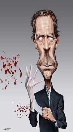 Caricatura de Hugh Laurie como Dr. House.