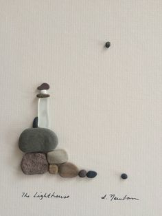 8 by 10 lighthouse made with pebbles and sea glass by by PebbleArt