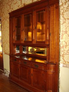 1880's Mirrored Victorian Antique Built In Dinning Room Cherry Breakfront Buffet
