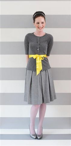 love the two-tone gray, tho perhaps with a less full or pencil skirt instead