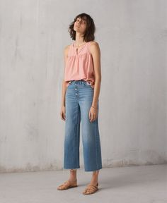 madewell wide-leg crop jeans worn with embroidered gingham tank top, the boardwalk multistrap sandal + two-pack beaded bracelets.