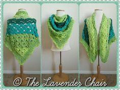 Gemstone Lace Triangular Shawl - Free Crochet Pattern - The Lavender Chair 2 Caron Cakes= nice n big Poncho Au Crochet, Pull Crochet, Crochet Shawls And Wraps, Thread Crochet, Crochet Scarves, Crochet Clothes, Caron Cakes Patterns, Shawl Patterns, Crochet Patterns
