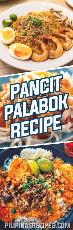 The Pancit Palabok Recipe, is as popular as Pancit Bihon but it's actually pretty tasty and underrated, just so you know. It's a moist noodle dish complete with Shrimp, Pork Chicharon, Hard-boiled Eggs, Philippine Smoked Fish flakes and chopped spring onions.