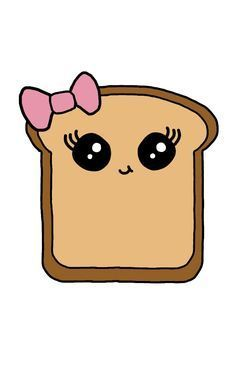 Please don't take credit for my work! drawing food Cute Kawaii Bread Slice (Drawn by me, no template! Cute Drawings For Kids, Kawaii Girl Drawings, Cute Food Drawings, Cute Animal Drawings Kawaii, Sweet Drawings, Cute Cartoon Drawings, Cartoon Girl Drawing, Cool Art Drawings, Drawing For Kids