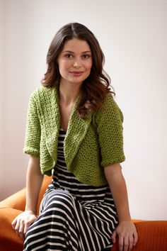 Round-About Cropped Cardi - Free Lion Brand crochet pattern by Lily Chin. Sizes Finished Bust: 36 (42, 46) in. Free registration required.