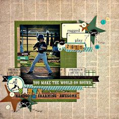 Love the layering. Jenny here to share a layout I made using the May Kit that features the super amazing collection - Echo Park This and That: Charming! School Scrapbook Layouts, Kids Scrapbook, Scrapbook Sketches, Scrapbook Paper Crafts, Scrapbooking Layouts, Scrapbook Cards, Digital Scrapbooking, Paper Crafting, Baseball Scrapbook