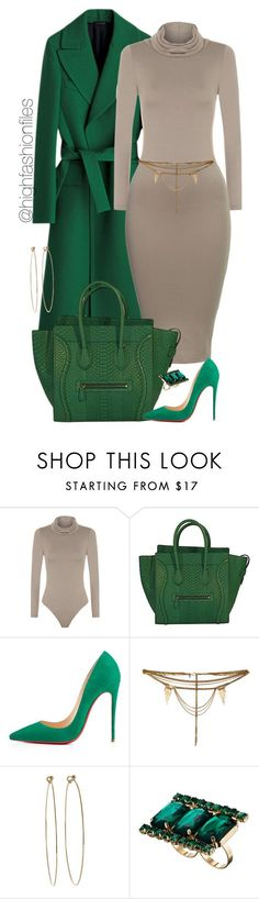 """Green"" by highfashionfiles ❤ liked on Polyvore featuring WearAll, Christian Louboutin, Vanessa Mooney, Dean Harris, ASOS, women's clothing, women's fashion, women, female and woman"