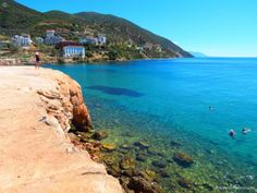 The strange rock formations of Loutra Edipsou - spa resort with hot mineral springs, Evia