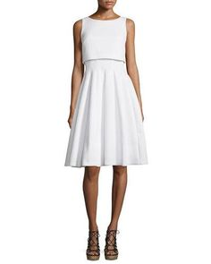 BADGLEY MISCHKA SLEEVELESS POPOVER FIT-&-FLARE DRESS, WHITE. #badgleymischka #cloth #