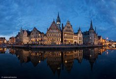 Ghent at Night search: beautiful panoramic of ghent at night