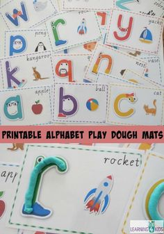 Printable Alphabet Play Dough Mats in Cursive and standard print - Play Dough Mats turn ordinary play dough activities into a creative and educational experience! Learning 4 Kids
