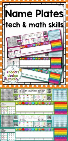 Name plates that are a quick reference for upper elementary students to use at their workspace. Each name plate includes references for computer quick key strokes, fractions, math conversions, a hundreds, a multiplication chart and 4 QR Codes.  If you want to type your student's names onto each name plate, there is an editable PowerPoint file included. #nameplates #nametags