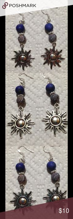 Lapis Lazuli and Coffee Agate Sun Earrings These pretty earrings are made with frosted coffee agate and lapis lazuli. The hooks are sterling silver. These earrings and all PeaceFrog jewelry items are made by me! PeaceFrog Jewelry Earrings