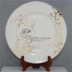 50th Anniversary Plate Set with Stand - 50th Wedding Anniversary Gift