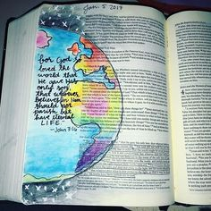 I brought my #bibleartjournaling supplies to #passion2017 -and they said I wouldn't use it (they being my dad @joshnnomi1). My old bible art journal was stolen so I decided to remake a design I really loved. #illustratedfaith #bibleart #john316