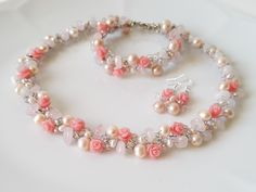 Pink Roses Jewelry Crochet Set(necklace,bracelet,earrings),Roses Jewelry,Freshwater Pearls Necklace,Wedding Jewelry,Rose Quartz by CyShell. by CyShell on Etsy
