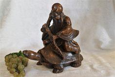 China cinnabar hand-carved Kid Children Boy longevity Peach Statue