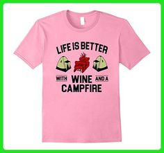 Mens Life is better with wine and a campfire T Shirt XL Pink - Food and drink shirts (*Amazon Partner-Link)