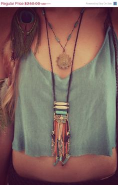 ON SALE ROOTS Leather Fringe Bohemian Tribal One of a Kind Necklace. $212.50, via Etsy.