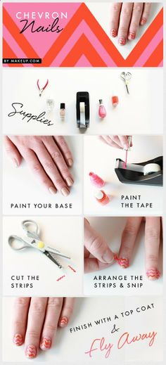 diy chevron manicure - hmm, interesting technique. Ill have to give this a try since I havent been able to get my chevron stripes exactly how I want them.
