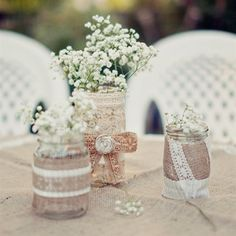 Burlap and Lace Centerpieces Filled with Baby's Breath. Love the vintage Look of it! Plan My Wedding, Diy Wedding, Rustic Wedding, Dream Wedding, Wedding Dreams, Wedding Things, Mason Jar Centerpieces, Wedding Centerpieces, Wedding Decorations