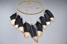 Noir et or Dream Catcher chambre Decor Tribal noir capteur de