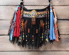 Boho inspired, eclectic pieces of wearable art. by AlisoBay Hippie Purse, Boho Bags, Outfit Maker, Cowgirl Boots, Wearable Art, Suede Leather, Bohemian Style, Leather Purses, Boho Fashion