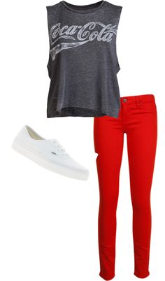 """coca-cola shirt and white vans and redd jeans"" by kay425 on Polyvore"