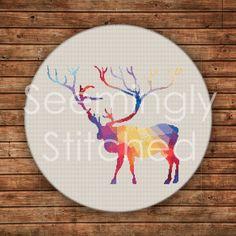 Counted Cross Stitch Pattern - Modern Deer - Instant Digital Download PDF