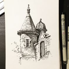 Architectural sketches 576249714824239781 - ⭑ 𝘱𝘪𝘯𝘵𝘦𝘳𝘦𝘴𝘵 ⭑ Source by libitumnox Landscape Drawings, Architecture Drawings, Pen Sketch, Art Sketches, Castle Painting, Interior Design Sketches, Wow Art, Ink Pen Drawings, Urban Sketching