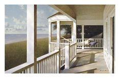 Striped Hammock by Zhen-Huan Lu 24x36 Coastal Seascape Poster BEACH ART PRINT
