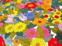 Vintage Fabric   Big Bright Flowers  Screen Print  by NehiandZotz, $18.00
