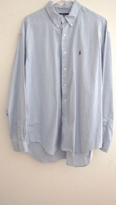 Men's Marlowe Ralph Lauren Polo Blue Pony Plaid Long Sleeve Shirt Sz XL Vintage #PoloRalphLauren #ButtonFrontSmallTearLastButton