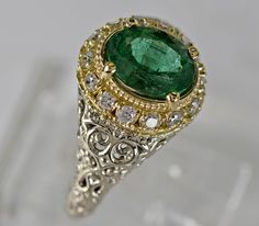 14K White Gold Emerald and Diamond Ring 3989