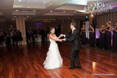 Bride and groom share the first dance together at the Sterling Ballroom. www.SterlingBallroomEvents.com Photos courtesy of Marconi Photography. #bride #groom #wedding #weddingflowers #NJ #TintonFalls #MonmouthCounty #venue #ballroom #doubletreetintonfalls #marriage #love